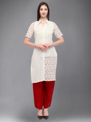 Divastri Women Printed Straight Kurta(White)