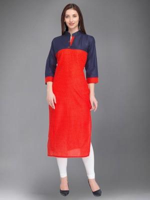 Divastri Women Printed Straight Kurta(Red, Blue)