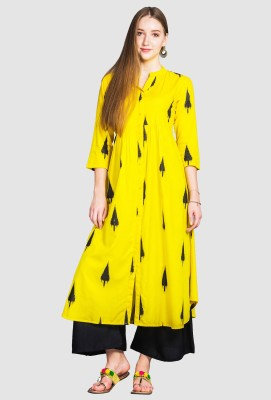 Divastri Women Printed Anarkali Kurta(Yellow)