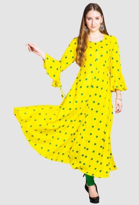 Divastri Women Printed Anarkali Kurta(Yellow)