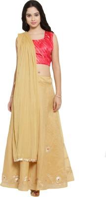 Salwar Studio Embroidered Stitched Lehenga Choli(Gold, Pink)