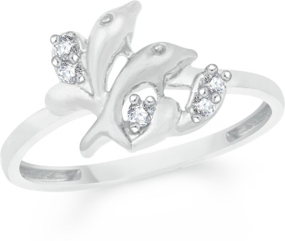 VK Jewels Dual Dolphin Brass, Alloy Cubic Zirconia Rhodium Plated Ring