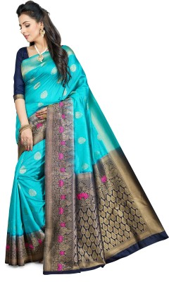 M.S.Retail Self Design Kanjivaram Poly Silk Saree(Light Blue) at flipkart