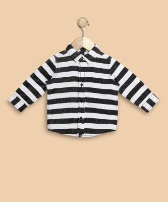 United Colors of Benetton Boys Striped Casual Black, White Shirt at flipkart