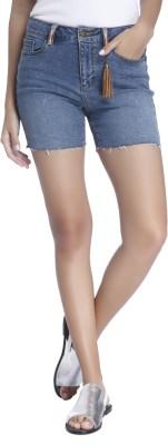 Vero Moda Solid Women Blue Denim Shorts at flipkart