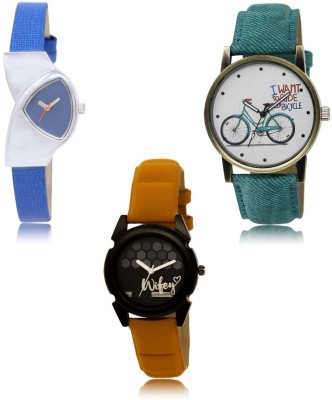 NEUTRON Latest Professional Bicycle Blue Green Orange Color 3 Watch Combo (GL208-GL229-GL235) For Girls And Women New Unique Combo Watch  - For Women