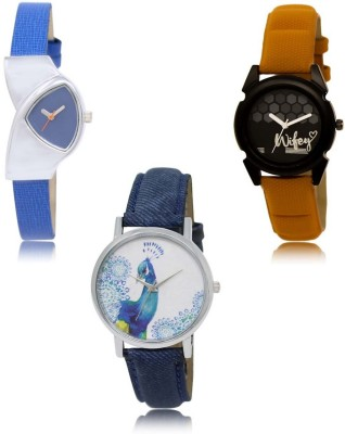 NIKOLA Treading Traditional Blue Orange Color 3 Watch Combo (GL208-GL235-GL241) For Girls And Women New Unique Combo Watch  - For Women