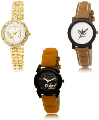 NEUTRON Classical Collegian Butterfly And Queen Gold Brown Orange Color 3 Watch Combo (GL203-GL209-GL235) For Girls And Women New Unique Combo Watch  - For Girls