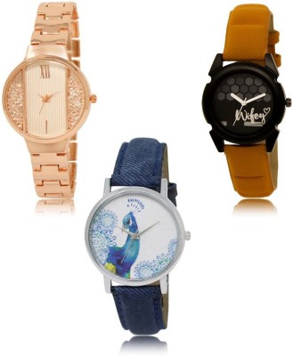 NEUTRON Modish Style Rose Gold Orange Blue Color 3 Watch Combo (GL217-GL235-GL241) For Girls And Women New Unique Combo Watch  - For Women