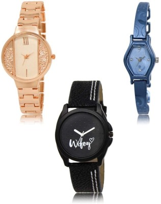 NIKOLA New Party Wedding Rose Gold Blue Orange Color 3 Watch Combo (GL217-GL218-GL235) For Girls And Women New Unique Combo Watch  - For Women
