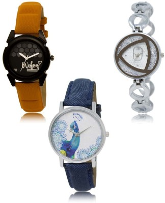 NEUTRON Latest Professional Orange Silver Blue Color 3 Watch Combo (GL235-GL240-GL241) For Girls And Women New Unique Combo Watch  - For Women