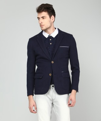 One Click Colorblock Single Breasted Casual Men Blazer(Black)