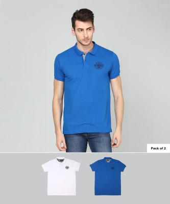 Metronaut Solid Men Polo Neck White, Blue T-Shirt(Pack of 2)