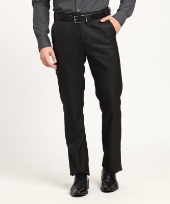 Metronaut Regular Fit Men's Poly Viscose Black Trousers