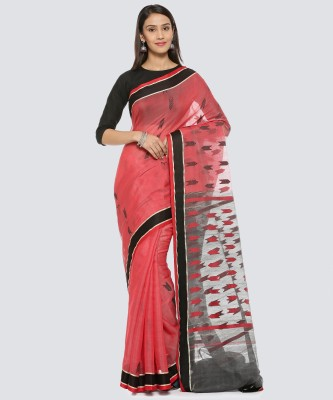 GoCoop Woven Phulia Silk Cotton Blend Saree(Pink)