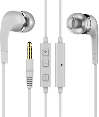 Gskaa Headphones for mobile earphones Wired Headset with Mic(White, In the Ear)