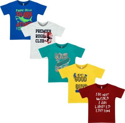 Motus Boys Printed Cotton T Shirt(Multicolor, Pack of 5) Flipkart