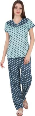 Kismat Fashion Women Polka Print Blue Top & Pyjama Set