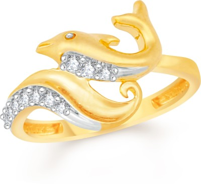 VK Jewels Dual Heart Alloy Cubic Zirconia 18K Yellow Gold Plated Ring