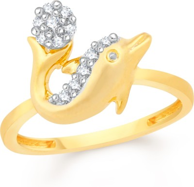 VK Jewels Dolphin Brass, Alloy Cubic Zirconia Gold-plated Plated Ring