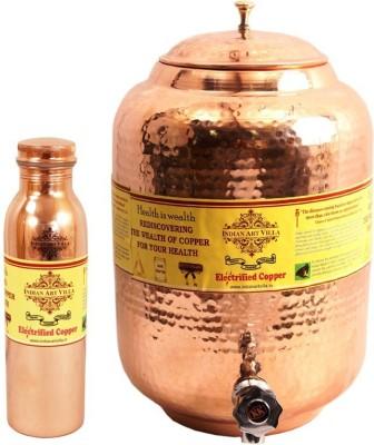 IndianArtVilla Copper Set of 1 Water Pot 5.5 Liter with 1 Leak Proof Bottle 800 ML  - 6300 ml Copper Grocery Container(Pack of 2, Brown) at flipkart