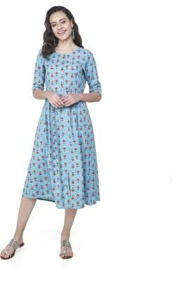 Global Desi Women Shift Blue Dress Flipkart