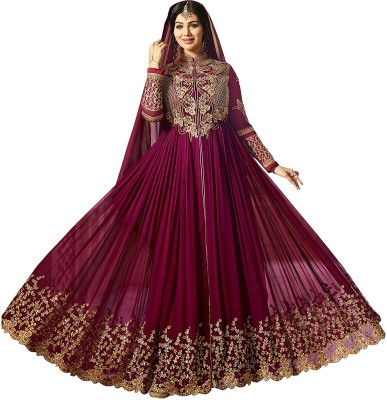 CREATIONS Georgette Embroidered Semi-stitched Salwar Suit Dupatta Material Flipkart