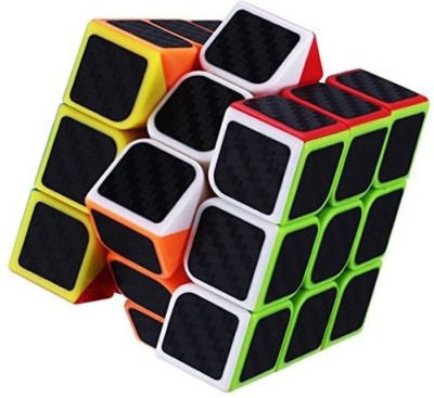 Miss & Chief Carbon Fiber Stickers 3x3 Neon Colors High Speed Magic Rubik Cube Puzzle Toy (5.5cm)(1 Pieces)