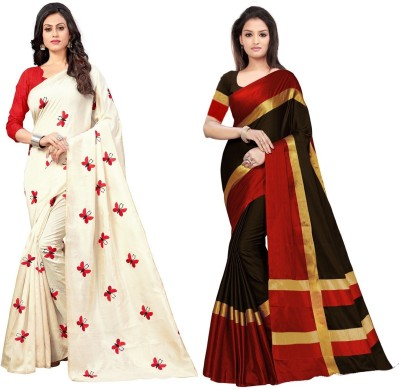 NplashFashion Solid Fashion Cotton Blend, Poly Silk, Poly Silk, Cotton Silk Saree(Pack of 2, Multicolor)