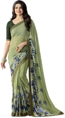 Foxstar Fashion Floral Print, Self Design Bollywood Georgette Saree(Light Green)