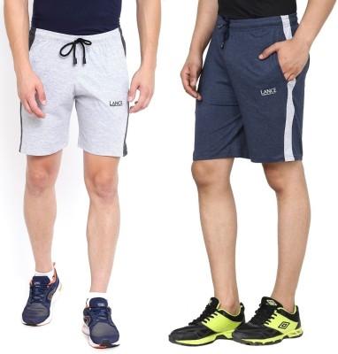 LANCE Solid Men Blue, Grey Running Shorts