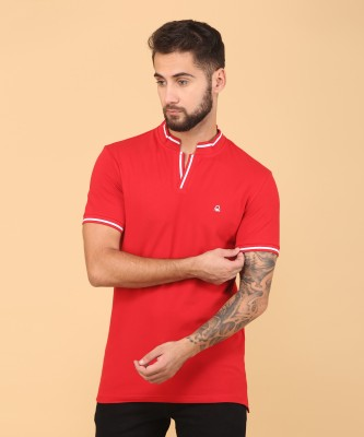 United Colors of Benetton Solid Men Polo Neck Red T-Shirt at flipkart