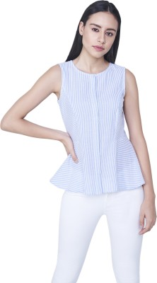 AND Casual Sleeveless Printed Women Blue Top