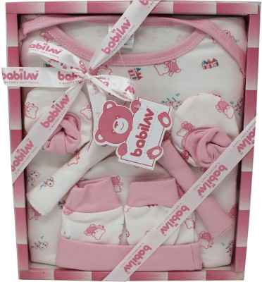 babilav Baby New Born 6 Pieces Unisex Baby Gift Set (Pink)(Pink)