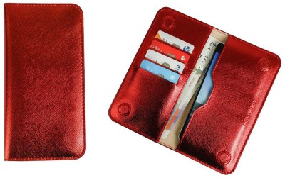 Emartbuy Wallet Case Cover for Airis TM551Q(Metallic Red, Dual Protection, Artificial Leather)
