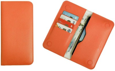 Emartbuy Wallet Case Cover for Multilaser MS60F Plus(Orange, Dual Protection, Artificial Leather)