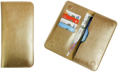 Emartbuy Wallet Case Cover for Airis TM55Q(Metallic Gold, Dual Protection, Artificial Leather)
