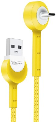 tecmac Fast Charging   Data Sync 1.2 m USB Type C Cable Compatible with smartphone, Yellow tecmac Mobile Cables