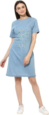 Heather Hues Women Shift Blue Dress