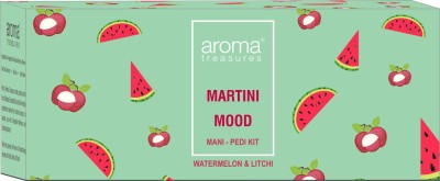 Aroma Treasures Martini Mood Mani-Pedi kit - 87g - with watermelon and litchi (contains cuticle cream, bath fizz, wash, scrub, body butter and masque)(87 g, Set of 1)