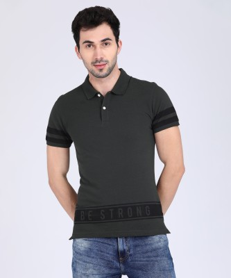 Metronaut Athleisure Printed Men Polo Neck Dark Green T-Shirt at flipkart