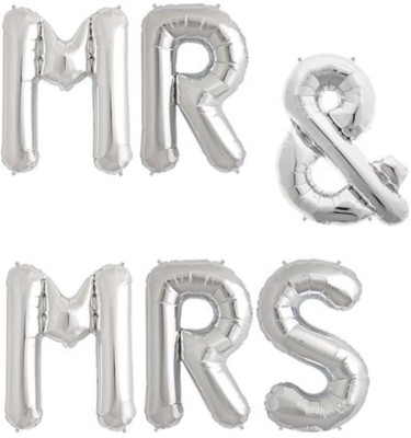Smartcraft Solid Mr&Mrs Foil Balloon,for Wedding Decor, Reception Balloons, Engagement Party Decor Balloon(Silver, Pack of 1)