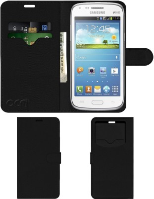 ACM Flip Cover for Samsung Galaxy Core(Black, Cases with Holder, Artificial Leather)