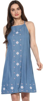 Heather Hues Women Shift Blue Dress