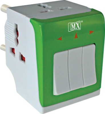 MX Multi Plug with 3 Individual Switches, Sockets and LED Indicator Surge Protector Worldwide Adaptor(Multicolor) at flipkart
