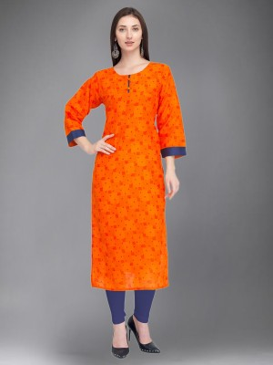 Divastri Women Printed Straight Kurta(Orange)