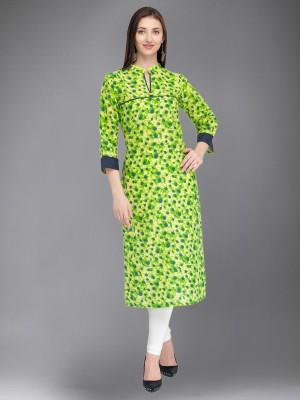 Divastri Women Printed Straight Kurta(Green, Black)