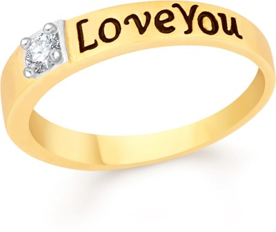 VK Jewels Love You Brass, Alloy Cubic Zirconia Gold-plated Plated Ring