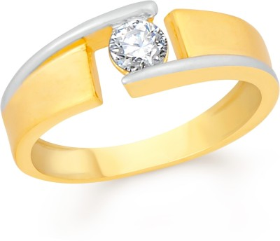 VK Jewels Single Stone Brass, Alloy Cubic Zirconia Gold-plated Plated Ring