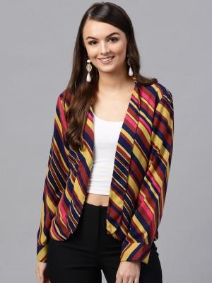 Sassafras Striped Tuxedo Style Casual Women's Blazer(Multicolor)